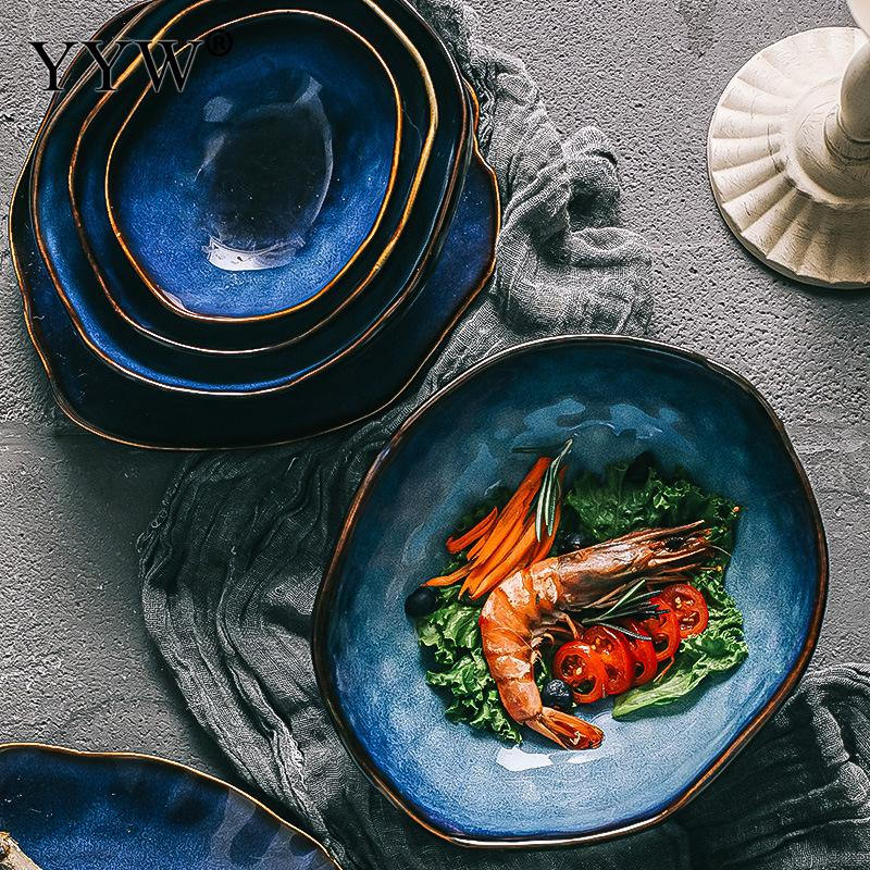 Creative Japanese-Style Ceramic Tableware Household Specialty Restaurant Irregular Noodle Soup Bowl Fish Plate For Kitchen