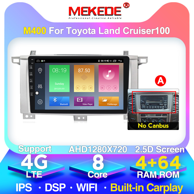 Hot sale Android 10.0 2.5D Tempered HD Touchscreen 9 inch Radio for <font><b>Toyota</b></font> Land Cruiser <font><b>100</b></font> with Bluetooth USB WIFI support SWC image