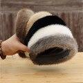 Новые зимние из натурального меха норки, лента для волос для женщин однотонные аксессуары для волос головные обручи теплая обувь на меху; По...