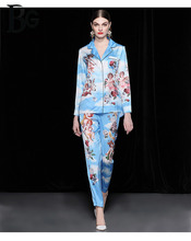 Baogarret Runway Autumn Blue Rose Angel Printed Two Piece Set Womens High Quality Casual Loose Pajamas Pants