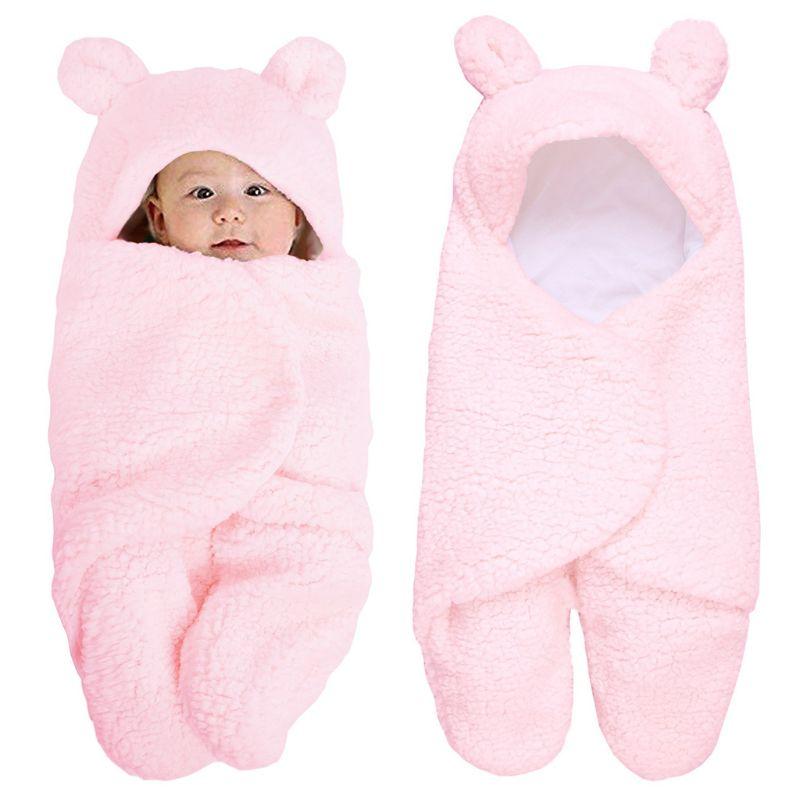 Newborn Baby Blanket Swaddle Wrap Winter Cotton Plush Hooded Sleeping Bag 0-12M U50F