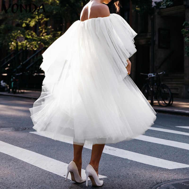 VONDA lato Mesh Tutu sukienka Plus rozmiar kobiety Sexy Off The Shouler jednolity kolor sukienek dorywczo luźne czeski Vestidos Femme