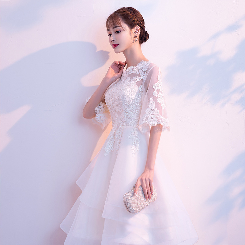 Banquet Dress Small Evening Dress Woman 2019 Meeting Lady Of Quality Thin Dress Long Fund White Bridesmaid Serve