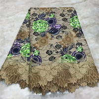 2019 High Quality New Arrival Ankara 100% Cotton Wax Lace Wax Fabric African Embroidery Dutch Wax With Lace Fabric WD091719