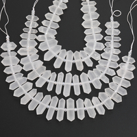 Middel Drilled Frosted Matted Natural White Quartz Crystal Hexagon Stick Point Loose Beads Necklace Pendant Strand DG 40AMFE