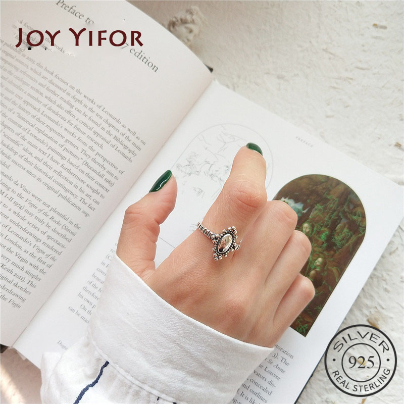 Real 925 Sterling Silver Vintage Minimalist Oval Elegant Mirror Adjustable Ring Fine Jewelry For Fashion Women Party Gift 2020