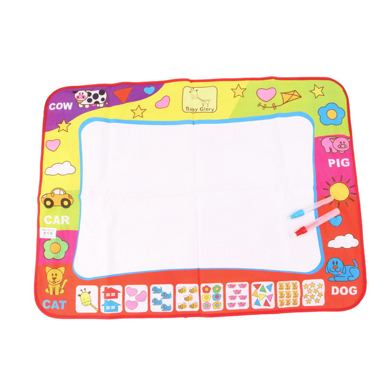 OCDAY 1pc 78 X 58 Cm Kids Water Drawing Painting Writing Toys Doodle Aquadoodle Mat Magic Drawing Board+2 Water Drawing Pen