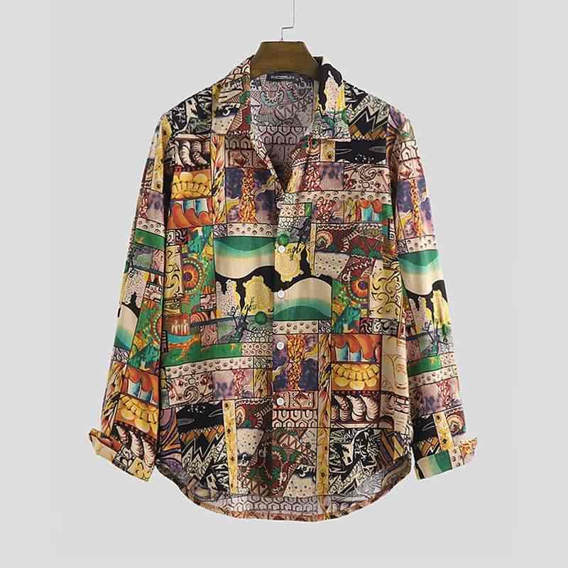 Camisa casual masculina do vintage impresso manga longa botão lapela hawaiian streetwear blusa solta 2020 marca camisas de praia dos homens