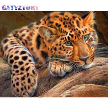 GATYZTORY Diamond Embroidery Diamond Painting Pictures Cheetah Of Rhinestones Diamond Mosaic Sale Full Square Drill Art Animals gatyztory diamond embroidery dogs diamond painting pictures of rhinestones diamond mosaic sale full square drill art animals