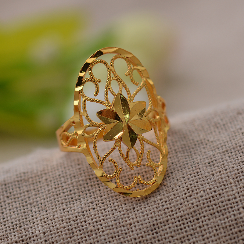 Dubai Flowers African Ring for Women's Girls Gold Color Arab Jewelry Flower Ring Jewellery
