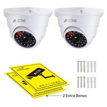2Pcs Outdoor CCTV Fake Simulation Dummy Camera Home Surveillance Security Dome Mini Flashing LED Light White
