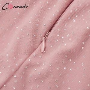 Image 5 - Conmoto Elegant Pink Backless Women Dress Female 2019 Autumn Winter High Waist Dress Fashion Mesh Sequin Vestidos