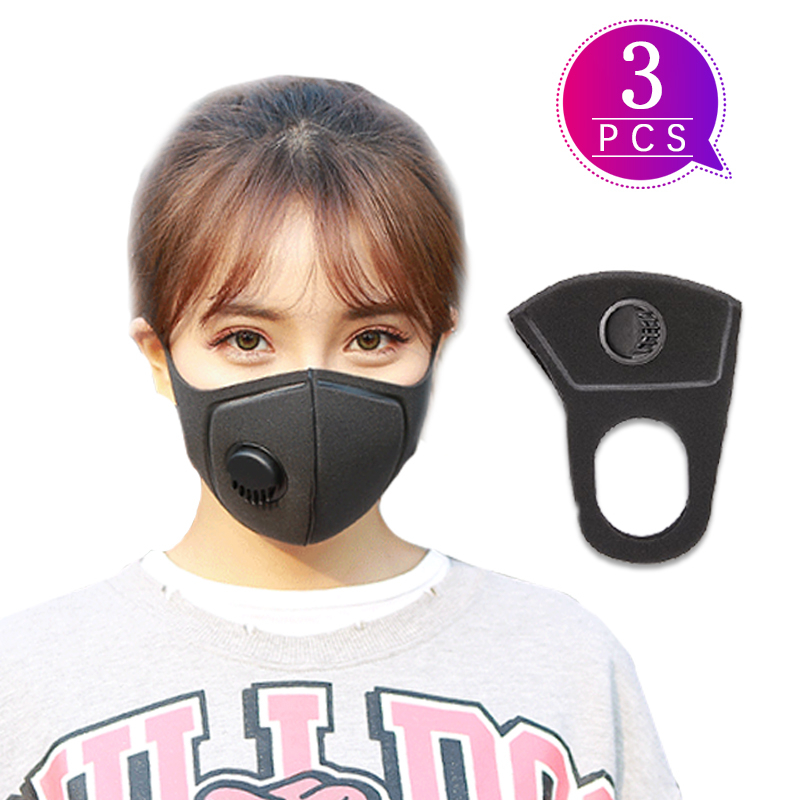 3pcs Reusable Face Masks Facial Protective Cover Masks Mouth Caps Mask Protection Earloop Anti Dust Antibacterial Face Mask