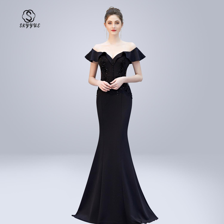 Skyyue robe De soirée col en v cristal femmes robes De soirée dos nu robe à glissière De soirée 2019 hors De l'épaule robes formelles C270