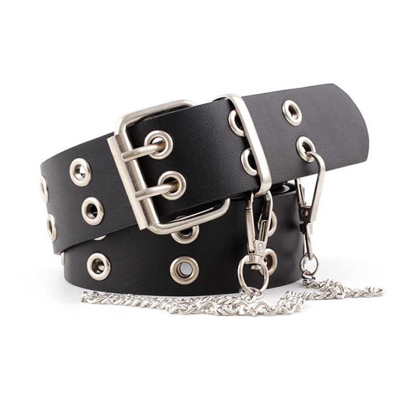 Punk PU Leather Waist Belt New Hip-hop Fashion Pin Buckle Black Adjustable Waistband With Chain For Ladies Girls Women Jeans Z15