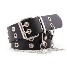 Cinto de couro punk pu, fivela preta e ajustável com corrente para mulheres e meninas calça jeans feminina z15