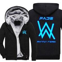 DJ WA Hip Hop Men Jacket Long Sleeve Thick Warm Wool Clothing Luminous florescent light jackets Winter Coat