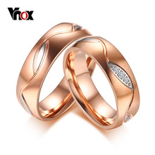 Vnox Engagement Ring for Women Men Cubic Zirconia Wedding Ring Rose Gold-Color Stainless Steel Casamento Anel Jewelry(China)