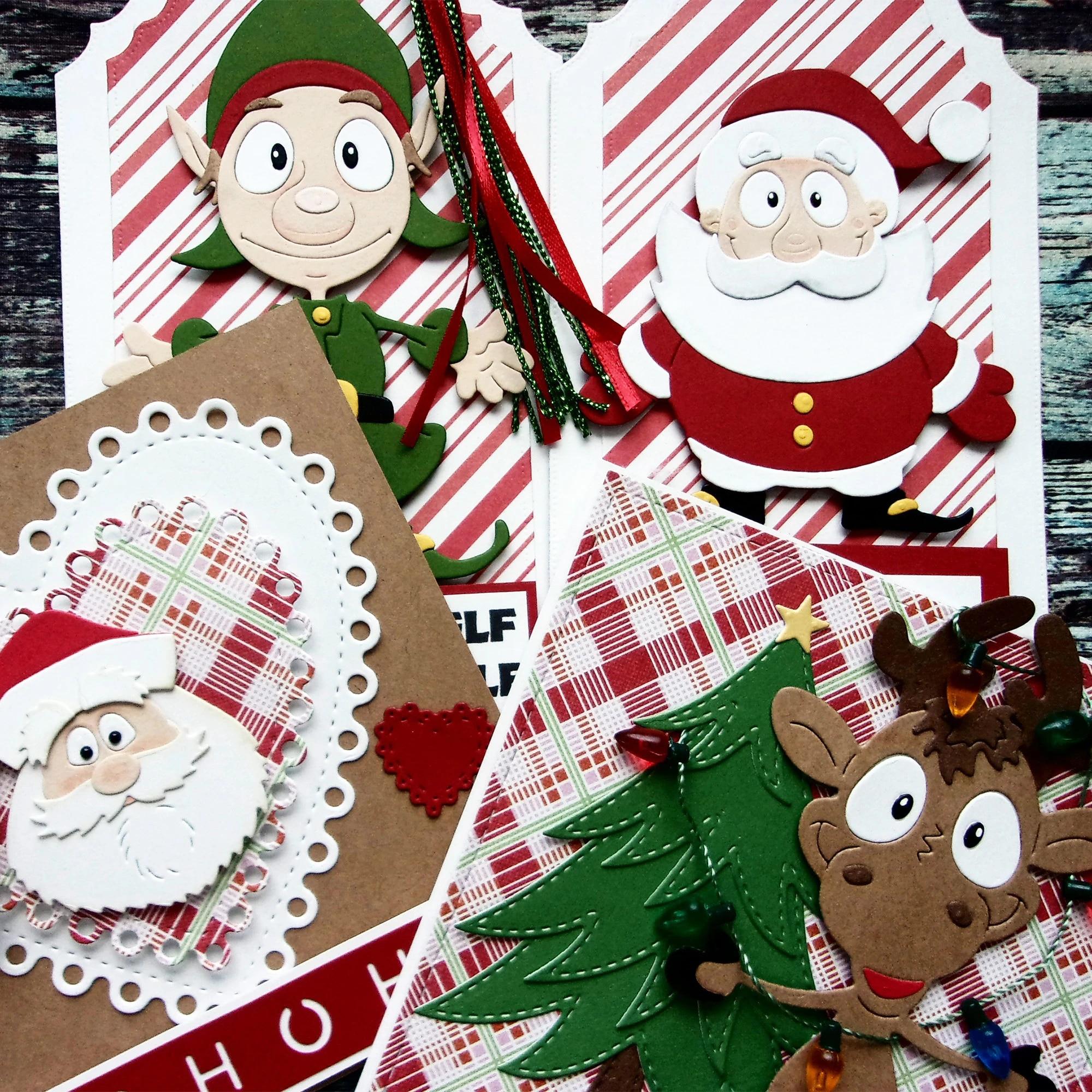 Santa Elk Elf Doll Metal Cutting Dies 2020 Christmas Card Stencil For Diy Scrapbooking Art Card Embossing Dies Cutting Dies Aliexpress
