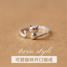 925-Sterling-Silver Jewelry Simple-Rings Korean Opening Small New-Fashion Cat Popular