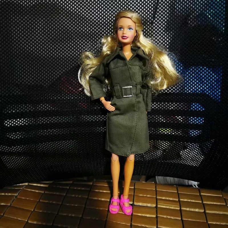 ロング冬コートバービー服 1/6 人形 bjd アクセサリースーツ制服衣装ファッショニスタオリジナル服衣装女の子