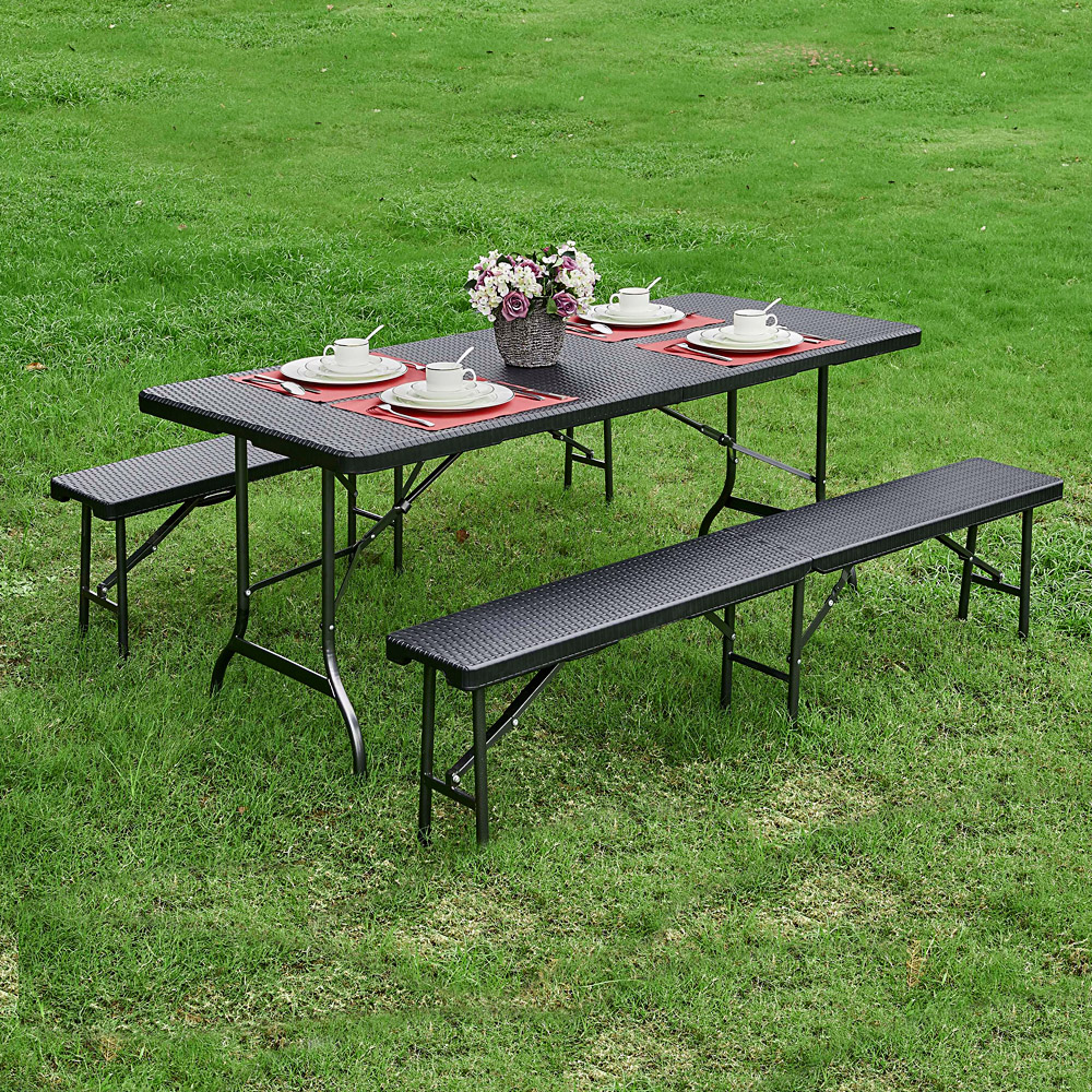 - Foldable Patio Benches 6FT Long Folding Camping Picnic Bench