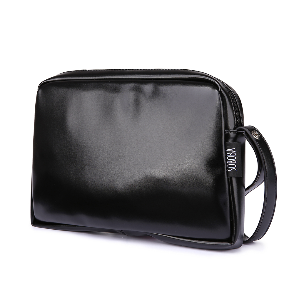 Classical Black Diaper Bag For Mother Waterproof Portable PU Diaper Handbag Stylish Large Capacity Changing Bag For Baby