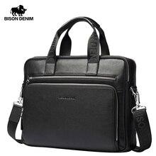 BISON DENIM Men Bag Genuine Leather Briefcases14