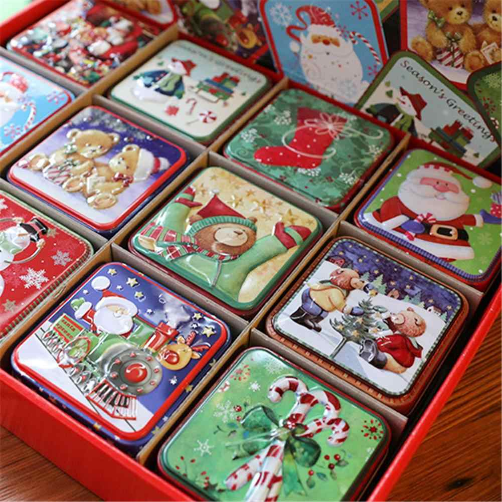 12PCS Christmas Small Square Box Tin Packaging Party Children Gift Boxes Tinplate Candy Baking Biscuit Storage Box