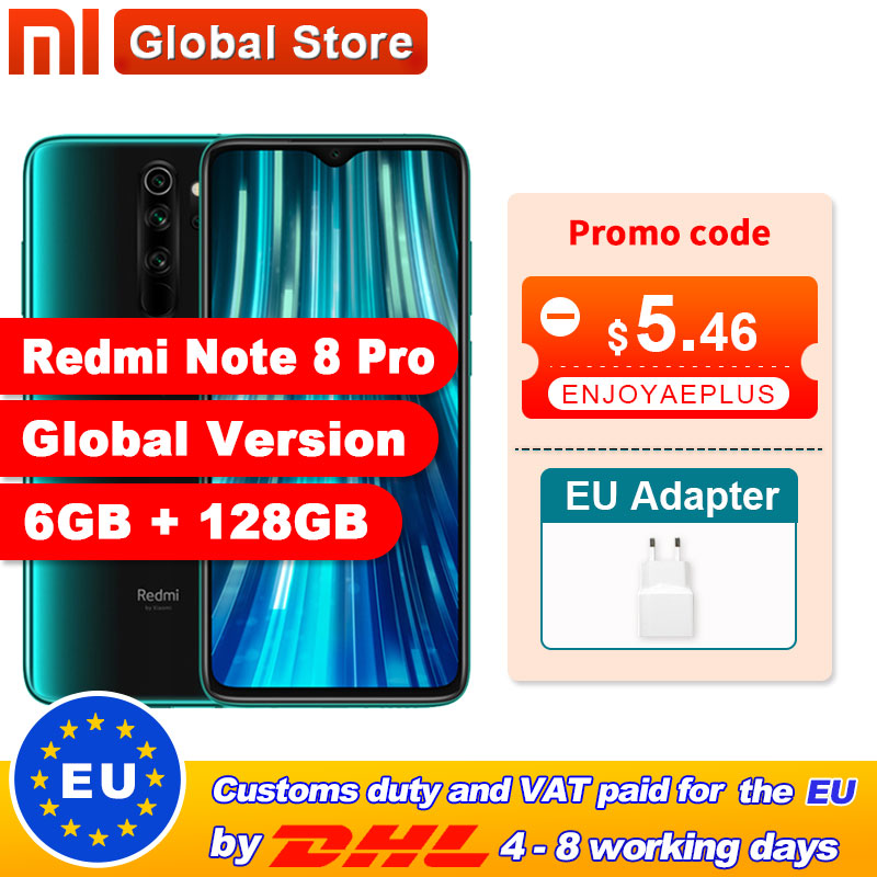 Warehouse Global Version Xiaomi Redmi Note 8 Pro 6GB 128GB Mobile Phone 64MP Quad Camera MTK Helio G90T Smartphone 4500 NFC(China)
