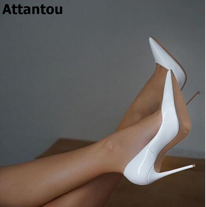 Women Pumps Solid Flock White Red Pointed Toe High Heels Satin Shallow Slip On Stiletto Heeled Wedding Party Prom Shoes Plus 46