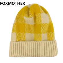 FOXMOTHER New Fashion Winter Yellow Red Plaid Check Knitted Beanie Hats Caps Warm Skullies Women Ladies Ski Outdoor