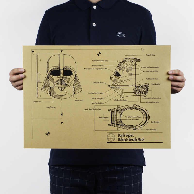 スターウォーズヴィンテージ映画ポスタークラシックヘルメットデザイン図面クラフト紙装飾画バーカフェ壁のステッカー