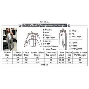 Image 5 - MVGIRLRU Womens Costume OL 2 Piece Sets Solid Color Blazer Jacket & Elastic Band Trousers Suit for Women Set Feminino Spring