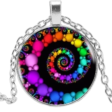 2019 New Spiral Pendant Fractal Necklace Flourish Vortex Glass Cabochon Sacred Geometry Art Picture Jewelry
