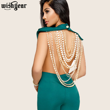 Sexy Pearl Chain Backless Jumpsuit Female Outfits Bodycon Club Party Overalls Fe