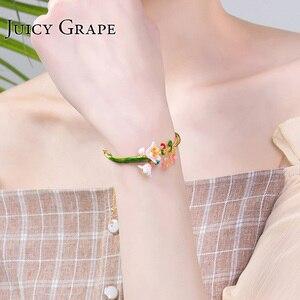 Image 4 - Soczysta emalia winogronowa Glaze chic bransoletka kobieca osobowość chłodne pozbawiające tchu styl bransoletka regulowane dziewczyny prezenty