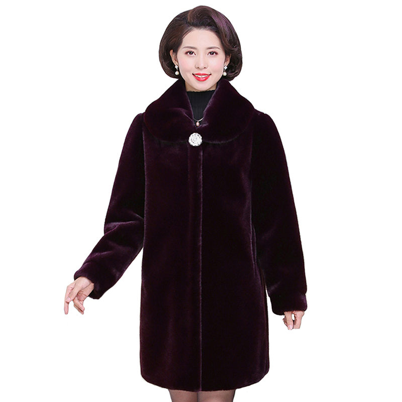 <font><b>Faux</b></font> <font><b>Fur</b></font> <font><b>Coat</b></font> Winter Women's Plus Size <font><b>Mink</b></font> <font><b>Fur</b></font> <font><b>Coats</b></font> High Quality Plus Size <font><b>Fur</b></font> Jacket Overcoats Middle-aged Womens Outerwear image
