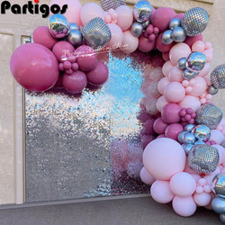 104pcs Baby Pink Balloon Garland Kit 22inch Disco 4D Ball My 1st One Year Party Decorations Kids Baby Boy Girl Garland Supplies