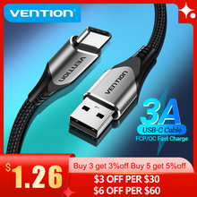 Vention kabel USB typu C do Huawei P40 3A szybkie ładowanie USB ładowarka USB C data przewód do Xiaomi Redmi note 8 kabel typu C Cabo