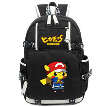 Pokemon Cartoon Large Backpack Pocket Monsters Pikachu Travel Backpack Mochila Escolar Laptop Backpack School Bags for teens(China)
