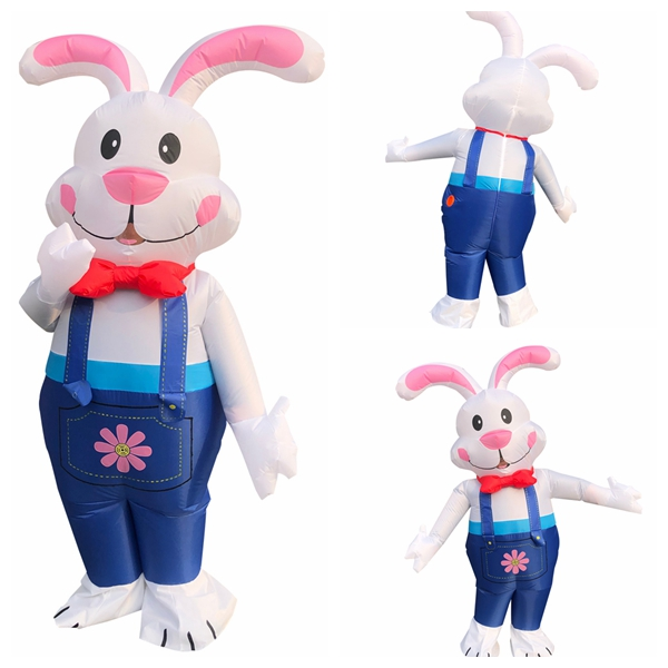 Halloween Inflatable Costume For Men Woman Adult Cosplay Ester Bunny Costume Suspenders White Rabbit Party Role Play Disfraz