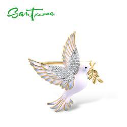 Broche de plata para mujer SANTUZZA, Plata de Ley 925 pura, Color amarillo dorado, paloma de la paz, joyería de Animal, esmalte hecho a mano
