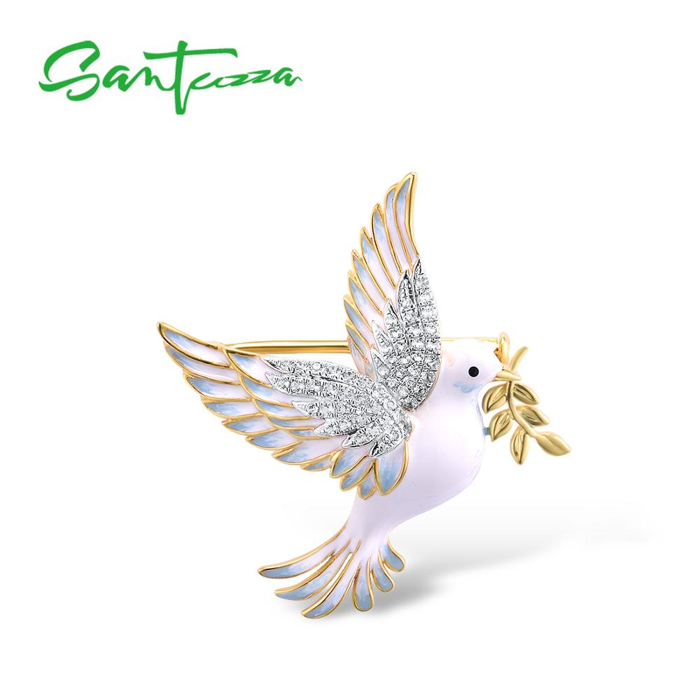 SANTUZZA Silver Brooch For Women Pure 925 Sterling Silver Yellow Gold Color Peace Pigeon Bird Animal Jewelry Handmade Enamel