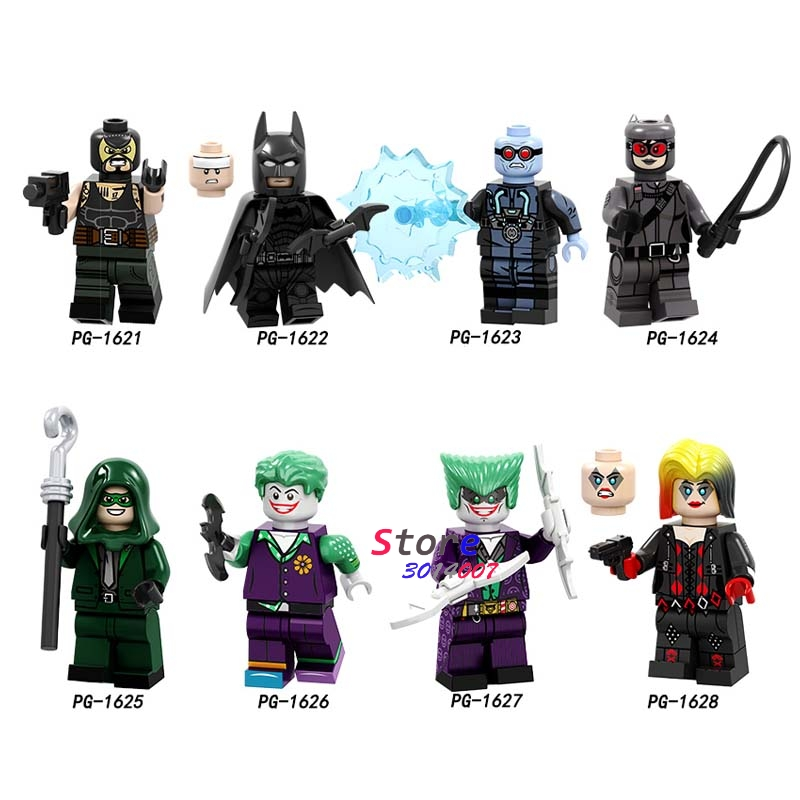 Single Bane Batman Joker Victor Fries Catwoman Riddler Clown Harleen Quinzel Spider-Man Building Blocks Toys For Children