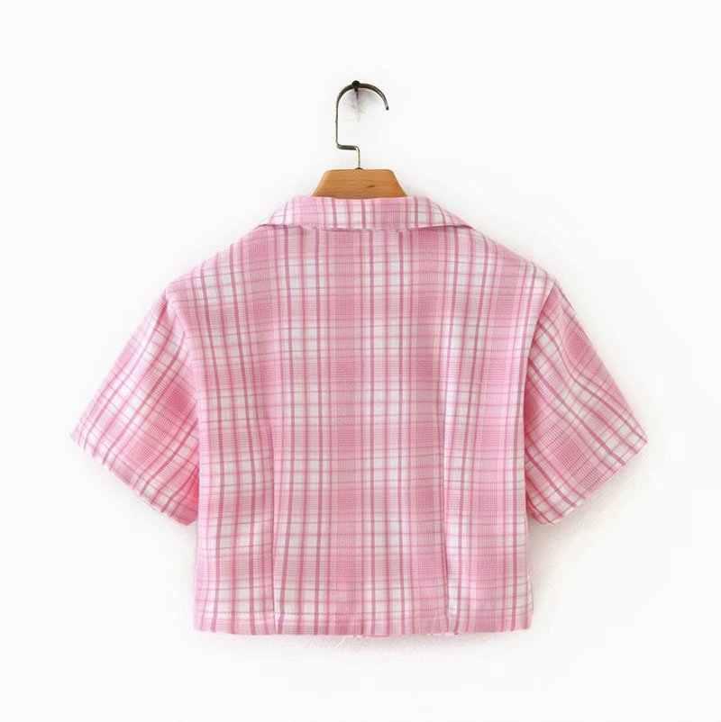 핑크 격자 무늬 노치 달콤한 2 조각 세트 여성 짧은 소매 패치 워크 t-셔츠와 분할 미니 스커트 세트 여름 패션 숙 녀 정장