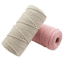 4pcs/packs 3 mm Twisted Cotton Rope Macrame Rope Cord 3 Strand Cotton Thread DIY Knitting Cotton String