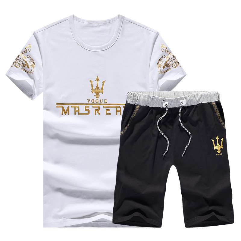Summer Men Crew Neck Printed Maserati Short Sleeve T-shirt Fashion Large Size Leisure Sports Suit Men's