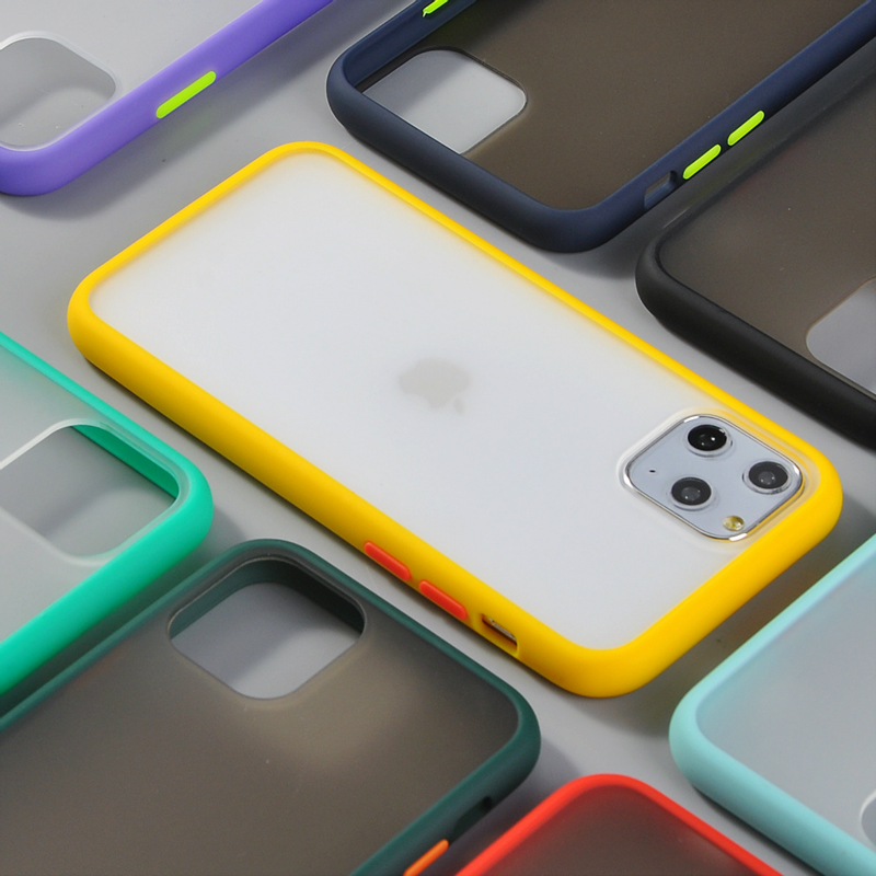 3 PCS Hybrid Matte <font><b>Bumper</b></font> Phone <font><b>Case</b></font> for <font><b>Iphone</b></font> 11 Pro Max Xr <font><b>Xs</b></font> Max 6s 8 7 Plus Shockproof Soft Tpu Silicone Clear armor Cover image