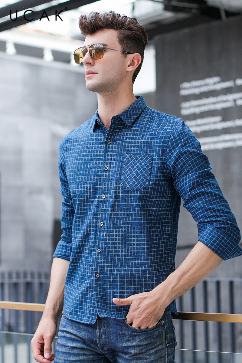 UCAK Brand Shirts Men 20 New Arrival Fashion Trend Plaid Casual ...